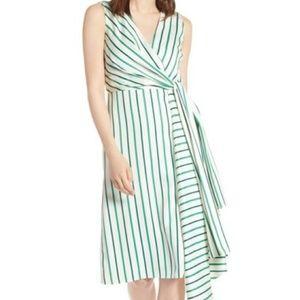 Halogen Green & White Striped Asymmetrical Dress